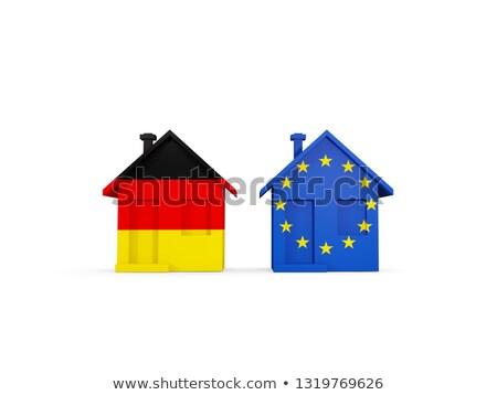два домах флагами Германия Евросоюз изолированный Сток-фото © MikhailMishchenko
