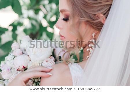 mooie · bruid · witte · trouwjurk · permanente - stockfoto © ruslanshramko