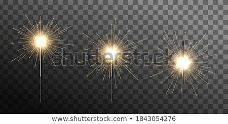 Közelkép égő csillagszóró új év buli sötét Stock fotó © unkreatives
