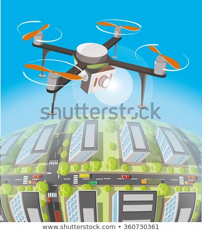 Drone Quadrocopter with camera on sky Stock photo © adamr