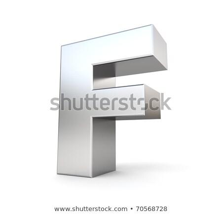 хром шрифт красочный Размышления буква f 3D Сток-фото © djmilic