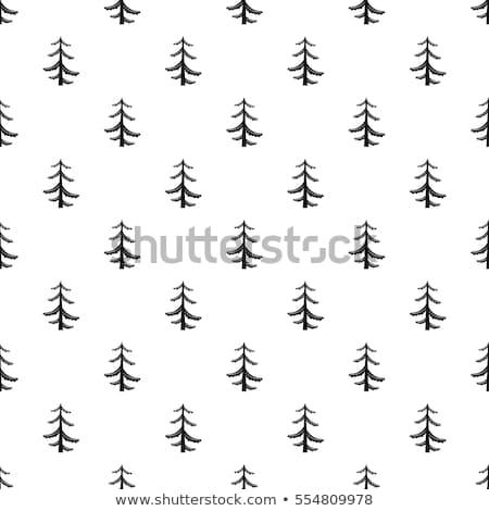 Pino pattern semplice senza soluzione di continuità illustrazione in bianco e nero Foto d'archivio © JeksonGraphics