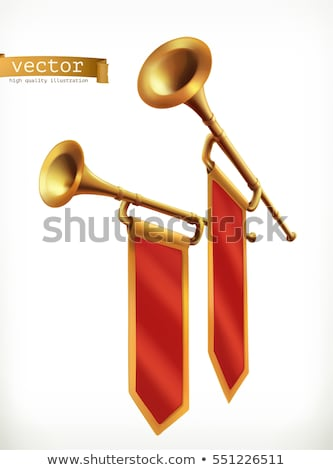 Stock photo: Gold Trumpet Vector. Fanfare Horn. Musical Herald Object. Loud Instrument. Isolated Realistic Illust