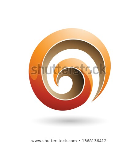 Orange and Beige 3d Glossy Swirl Shape Vector Illustration Stock photo © cidepix