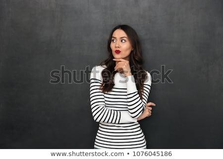 Pensieroso bruna donna casuale vestiti Foto d'archivio © deandrobot