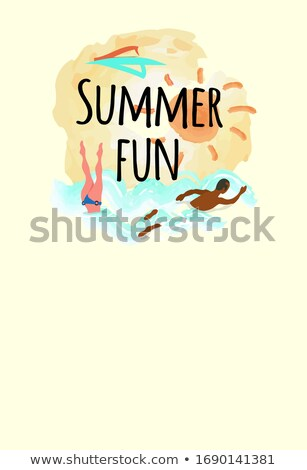 Summer Fun Emblem, Woman Diving, Afro-American Man Stok fotoğraf © robuart