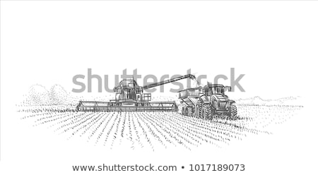 Combine Tractor Agriculture Vector Illustration Foto stock © robuart