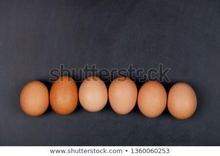 Zes vers organisch kip eieren Blackboard Stockfoto © marylooo