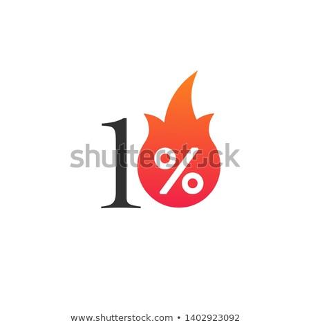10 · procent · af · vlam · brandend · sticker - stockfoto © kyryloff