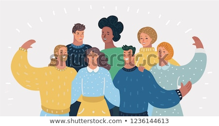 Friends or Relatives, Smiling Man and Woman Vector Stock photo © robuart