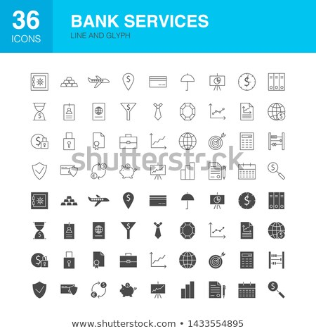 bank services line web glyph icons stock photo © anna_leni