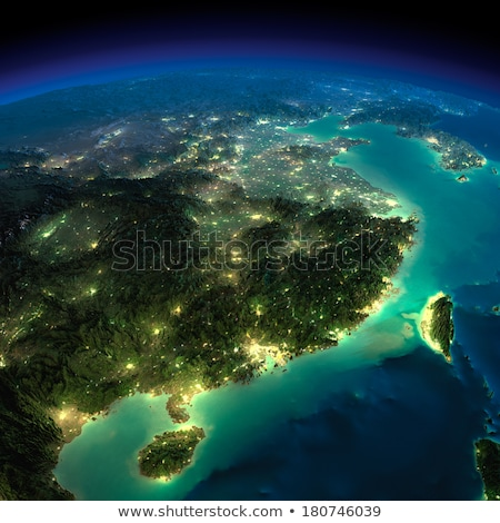 Gedetailleerd aarde nacht Oost China Taiwan Stockfoto © Antartis