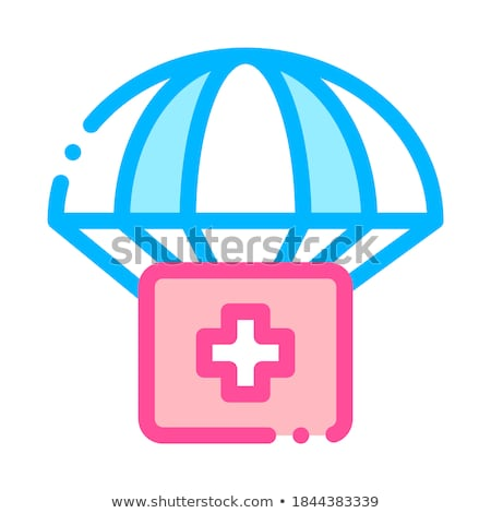 volunteers support parachute vector thin line icon stock photo © pikepicture