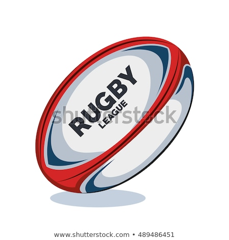 Ballon de rugby rouge design blanche marron Photo stock © albund
