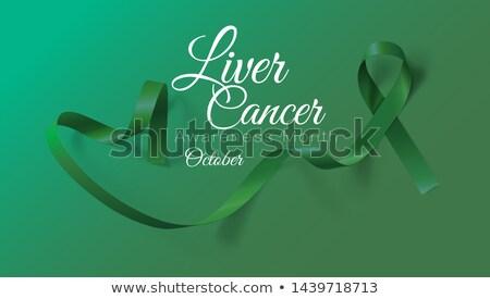 Liver Cancer Awareness Month. Realistic Emerald Green ribbon symbol. Medical Design. Vector illustra Stock photo © olehsvetiukha
