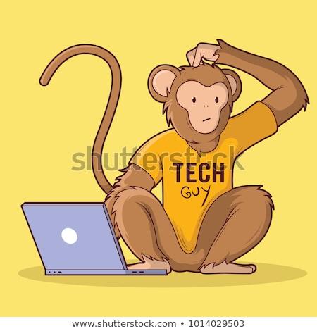 małpa · laptop · ilustracja · leży · drzewo · komputera - zdjęcia stock © tiKkraf69