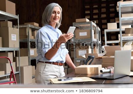 Vásárló telefon szállítmány weboldal okostelefon fehér Stock fotó © AndreyPopov
