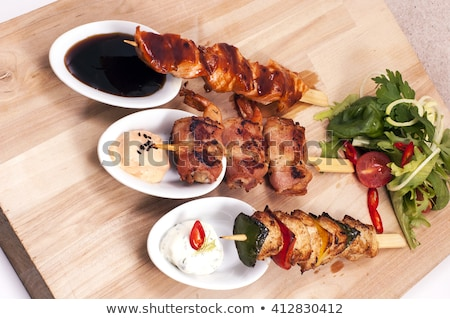 different kinds of satay dinner indonesian food stock photo © galitskaya