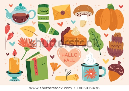 October background with leaves, food and drink, acorns, candle and eyeglasses Stock photo © pressmaster