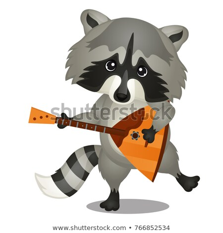 Small wild forest animal play on musical instrument. Raccoon with balalaika isolated on white backgr Stock photo © Lady-Luck