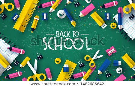 Stockfoto: Terug · naar · school · kid · krijt · boord · banner