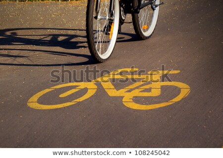 Yellow bicycle road marking  Stock photo © grafvision