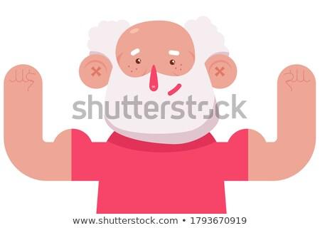 Senior man geschikt buigen spieren illustratie Stockfoto © lenm