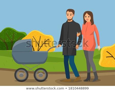 Eltern Kinderwagen Herbst Park Mutterschaft Vektor Stock foto © robuart