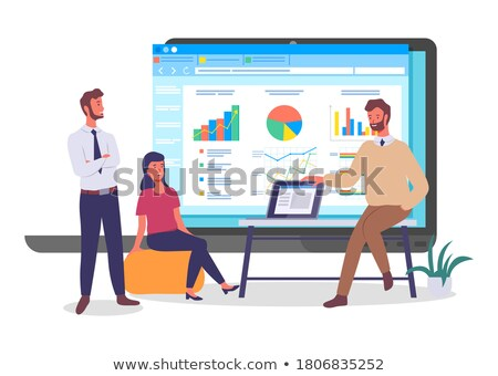 Coder with Laptop Presentation on Screen Vector Stock photo © robuart