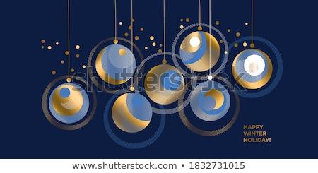 Vrolijk christmas gelukkig nieuwjaar horizontaal poster wenskaart Stockfoto © ikopylov