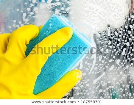 Mutfak lastik eldiven sarı ev banyo temizlik Stok fotoğraf © furmanphoto