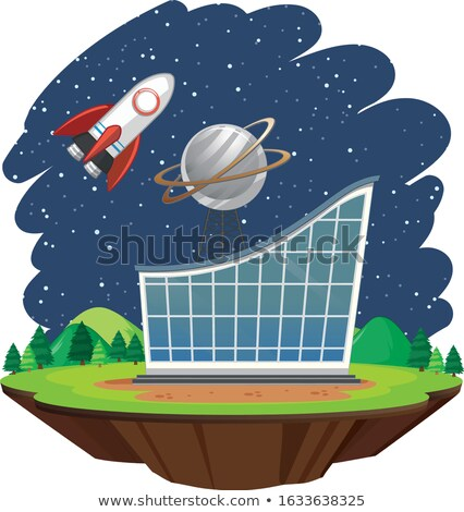 Scene with spaceship flying over big building Stock photo © bluering