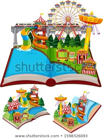 Cirkusz pop felfelé könyv illusztráció háttér Stock fotó © bluering