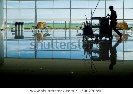 Kommerziellen Reinigung Büro Fenster tragen Handschuhe Stock foto © Kzenon