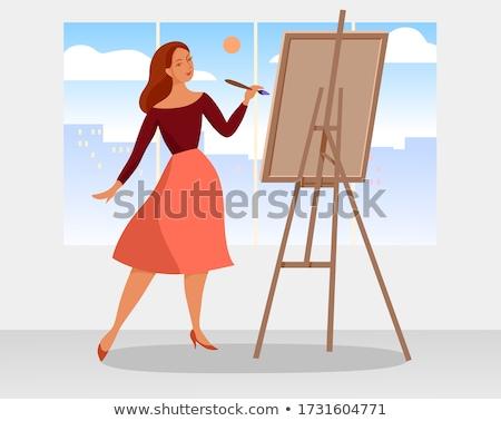 Atrakcyjny młoda kobieta artysty malarstwo zdjęcie sztuki Zdjęcia stock © deandrobot