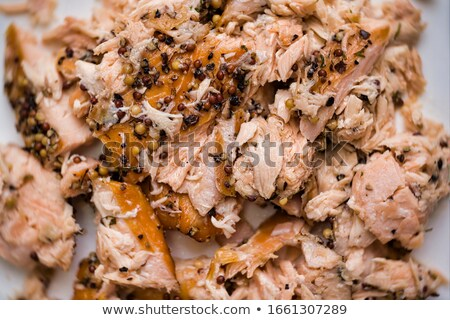 rustic smoked salmon flakes food background blur defocused Stock photo © zkruger