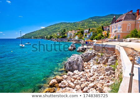 Town of Lovran coastline villas and turquoise sea view, Stock photo © xbrchx