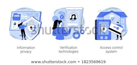 Fingerabdruck zugreifen Symbol Vektor Gliederung Illustration Stock foto © pikepicture