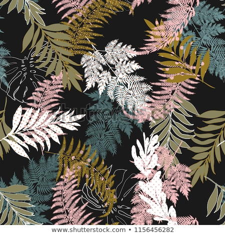 Botanical Abstract seamless fabric pattern with ferns leaves. Stock photo © Margolana