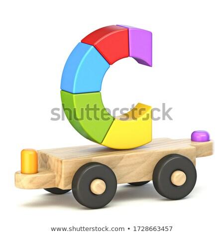 Wooden train font Letter C 3D Stock photo © djmilic