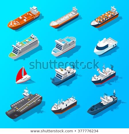 Vissen schip isometrische icon vector teken Stockfoto © pikepicture