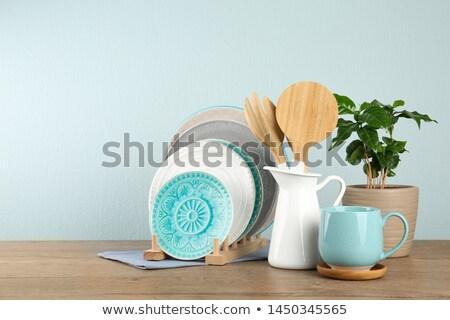 szett · konyha · kellékek · ezüst · fehér · szakács - stock fotó © winner