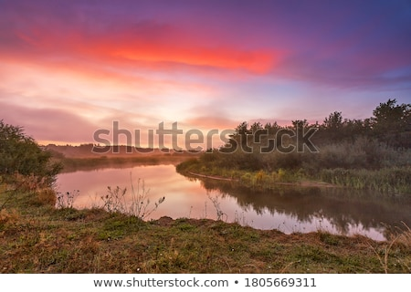 Восход берег реки красивой розовый Дунай Сербия Сток-фото © simply
