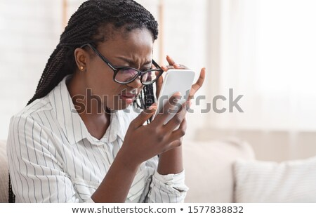 Látnivaló afroamerikai nő buborék dísz lány mosoly Stock fotó © ekapanova