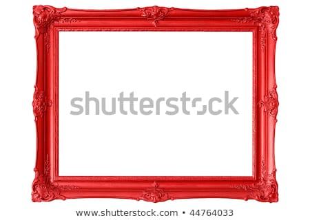 赤 · 画像フレーム · 孤立した · 白 · 木材 - ストックフォト © adamr