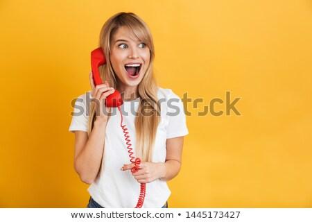 Zdjęcia stock: Retro · telefonu · kobieta · zdziwiony · przestrzeni · półtonów