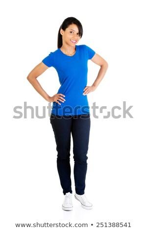 Permanente vrouw Blauw kleding mode Stockfoto © phbcz