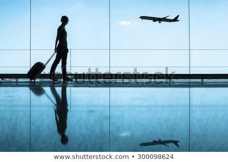 sozinho · aeroporto · mulher · jovem · espera · salão · mulher - foto stock © borna_mir