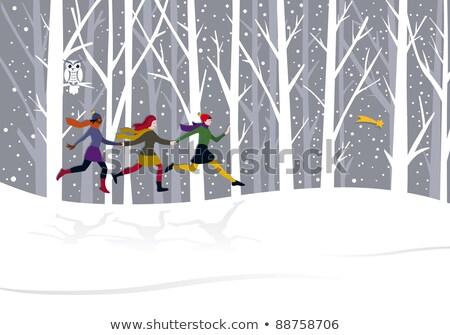 Noël trois filles courir forêt derrière Photo stock © Jesussanz