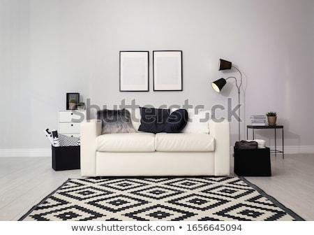 stanza · interni · bianco · muro · di · mattoni · pavimento · in · legno · vintage - foto d'archivio © imaster